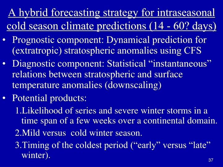 A hybrid forecasting strategy for intraseasonal cold season climate predictions (14 - 60? days)
