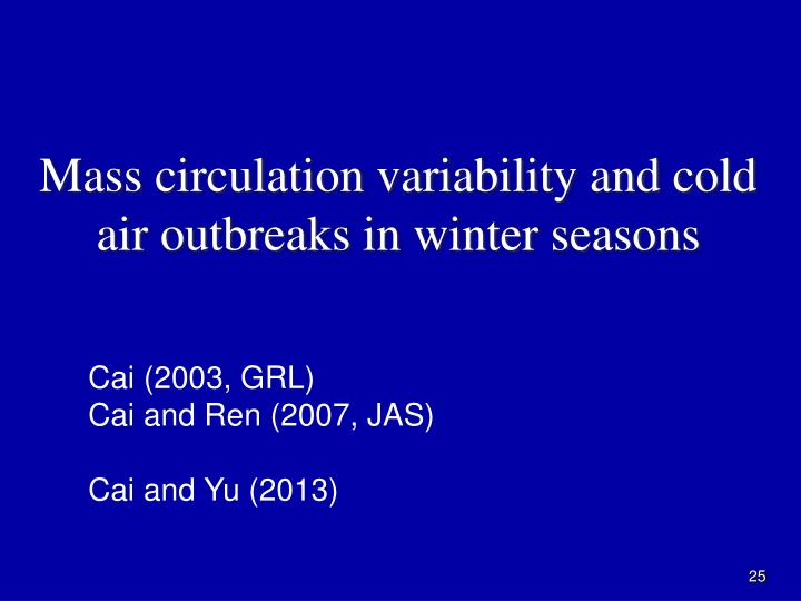 Mass circulation variability and cold air outbreaks in winter seasons
