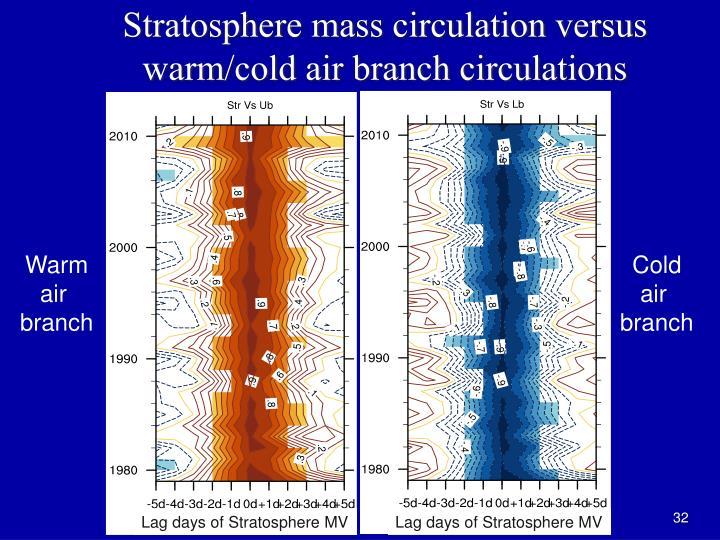 Stratosphere mass circulation versus warm/cold air branch circulations