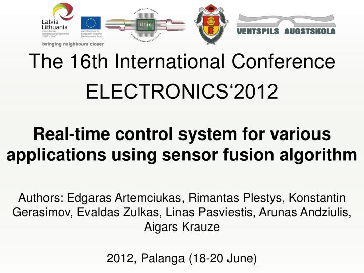 PPT - The 16th International Conference ELECTRONICS'2012 ...