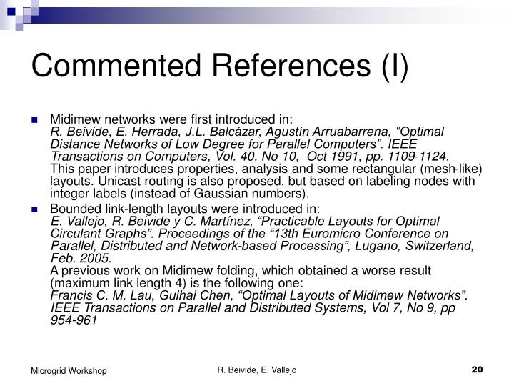 Commented References (I)