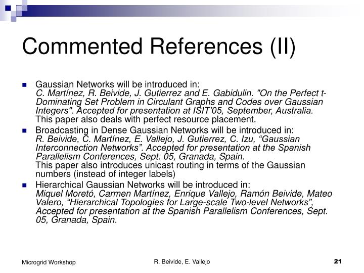 Commented References (II)