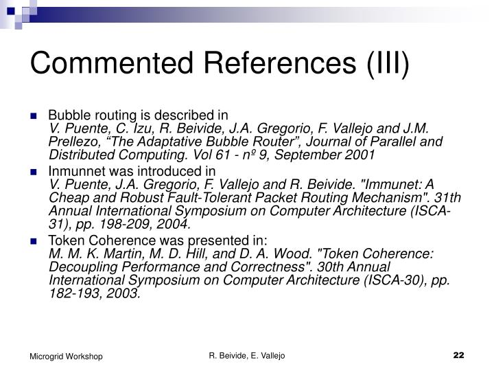 Commented References (III)