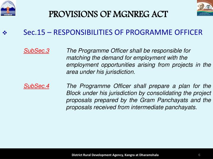 PROVISIONS OF MGNREG ACT