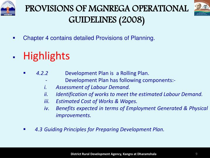 PROVISIONS OF MGNREGA OPERATIONAL GUIDELINES (2008)