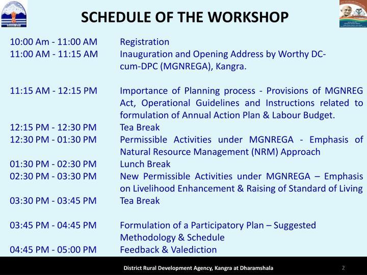 Schedule of the workshop