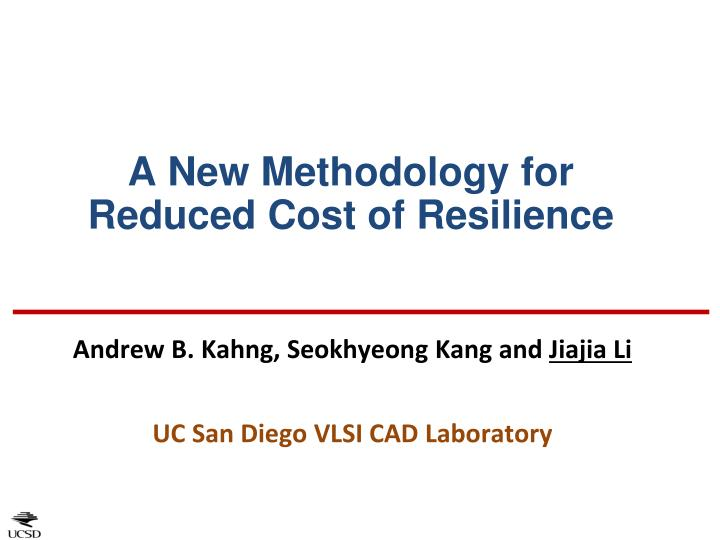 a new methodology for reduced cost of resilience n.
