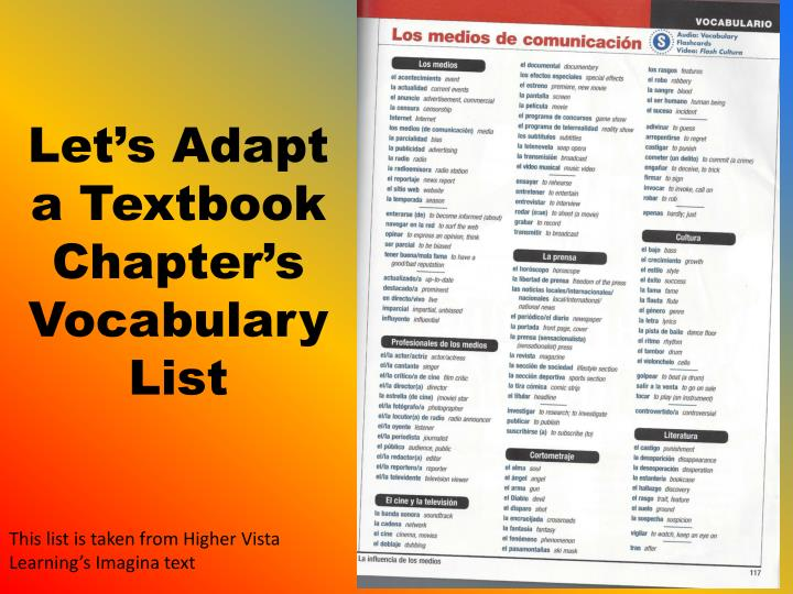Let's Adapt a Textbook Chapter's Vocabulary List