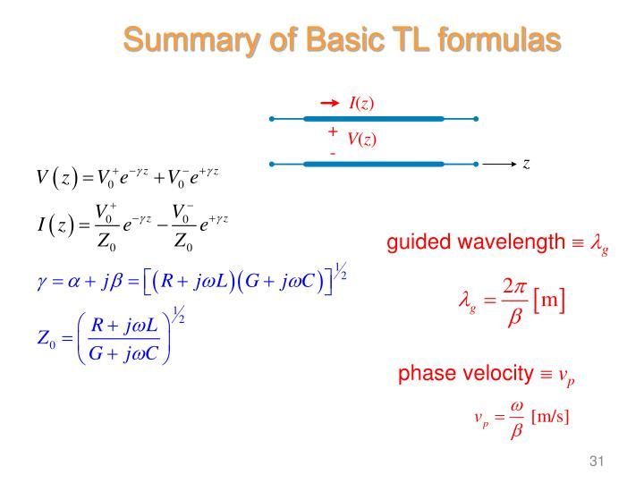 Summary of Basic TL formulas