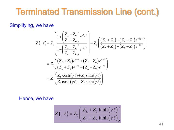 Terminated Transmission Line (cont.)