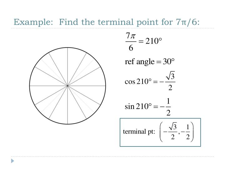 Example:  Find the terminal point for 7