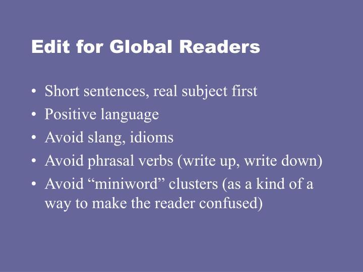 Edit for Global Readers