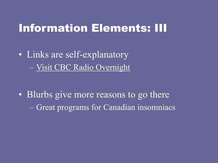 Information Elements: III