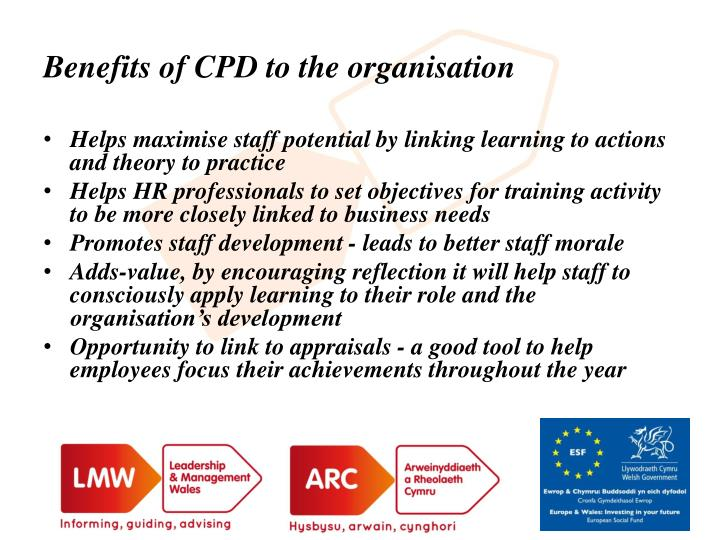 Benefits of CPD to the organisation