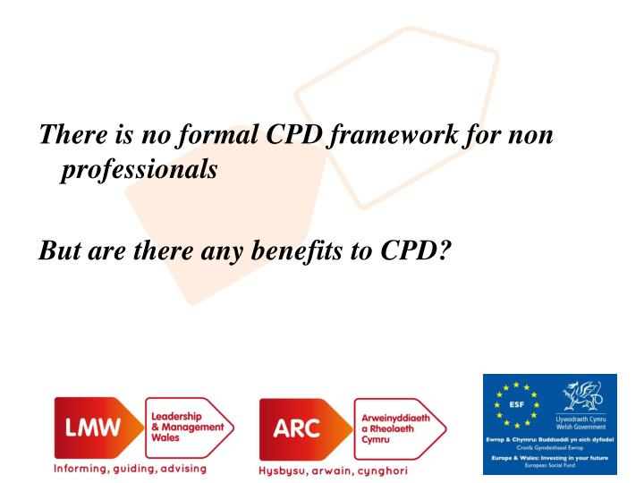 There is no formal CPD framework for non professionals