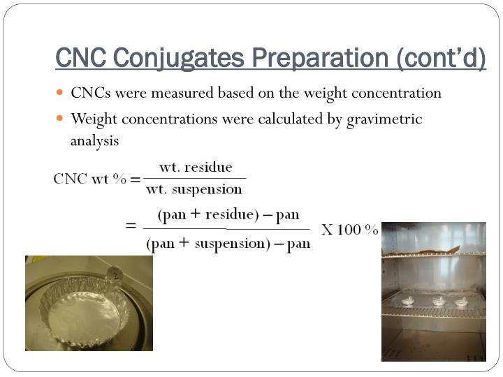CNC Conjugates Preparation (cont'd)
