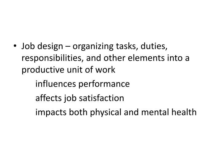 elements of job design