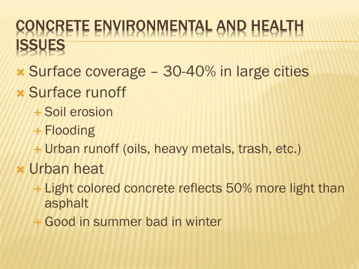 Surface coverage – 30-40% in large cities