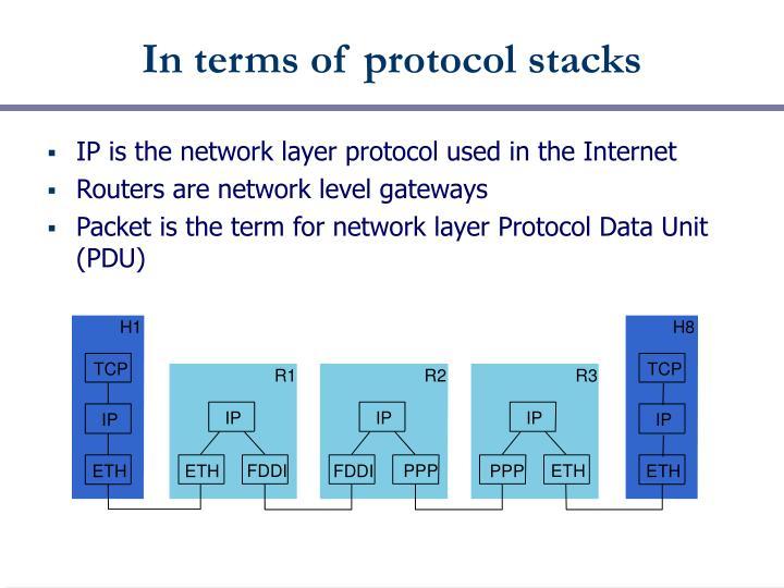 In terms of protocol stacks