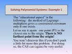 solving polynomial systems example 19