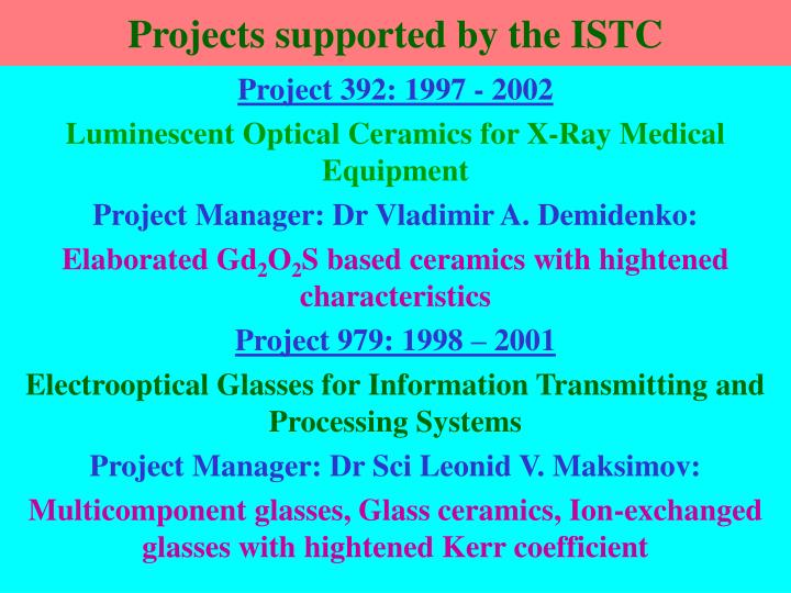 Projects supported by the ISTC