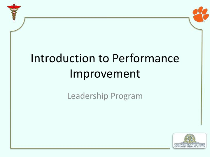 introduction to performance improvement n.