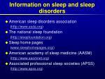 information on sleep and sleep disorders