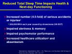 reduced total sleep time impacts health next day functioning