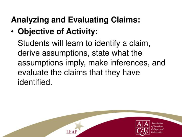 Analyzing and Evaluating Claims:
