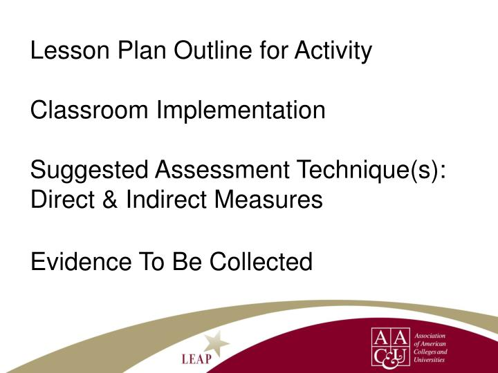 Lesson Plan Outline for Activity