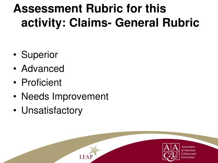 Assessment Rubric for this activity: Claims- General Rubric
