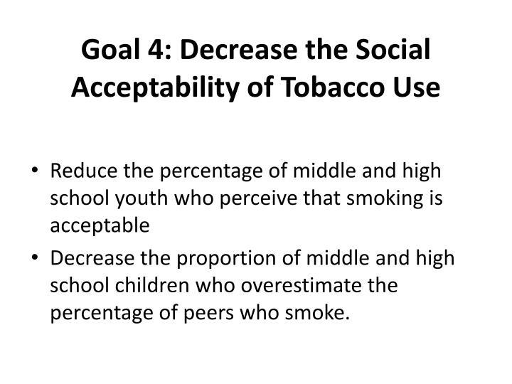 Goal 4: Decrease the Social Acceptability of Tobacco Use