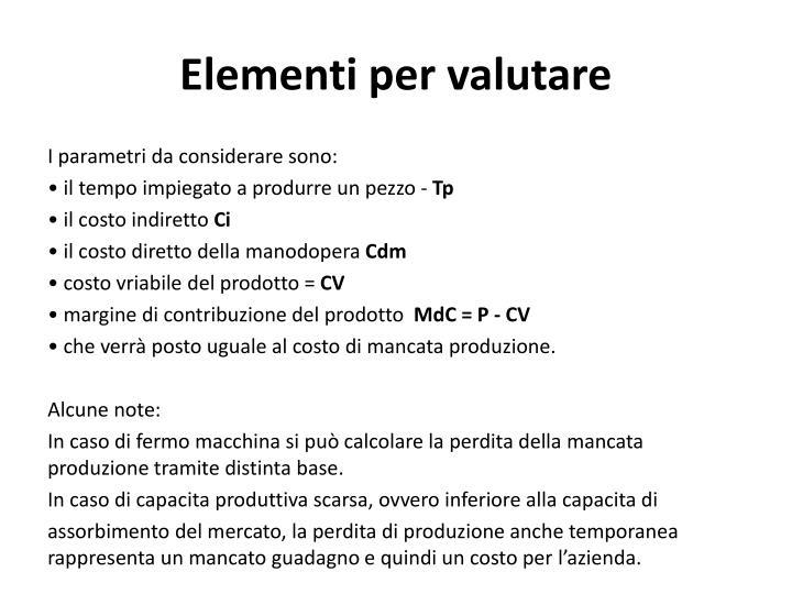 Elementi per valutare