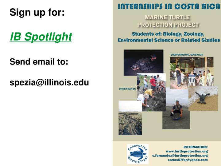 sign up for ib spotlight send email to spezia@illinois edu n.