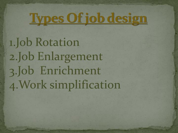 Types Of job design