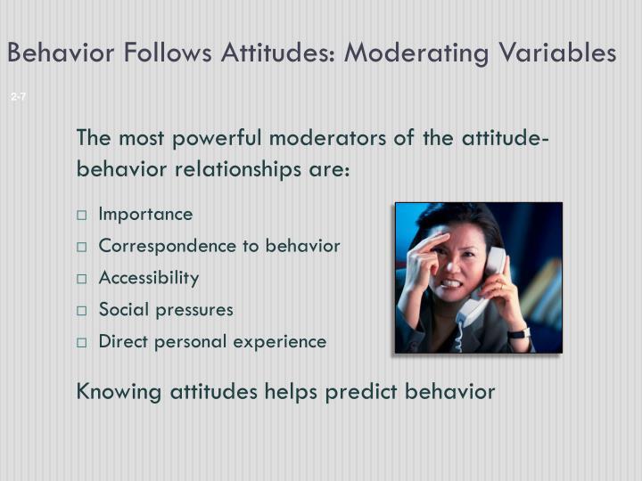 Behavior Follows Attitudes: Moderating Variables