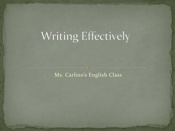 writing effectively n.