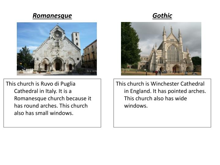 romanesque and gothic architecture History of architecture including medieval castles, romanesque, the vaulted stone roof, capella palatina in palermo, gothic, st denis and chartres, sainte chapelle in paris, italian gothic.