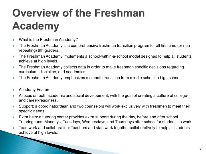 Overview of the freshman academy