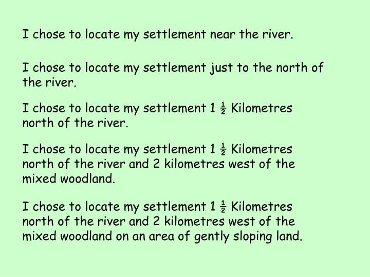 I chose to locate my settlement near the river.