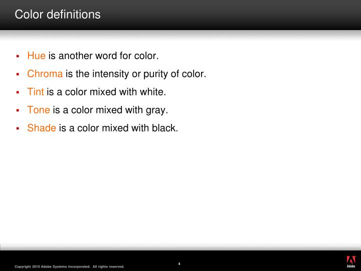 Color definitions