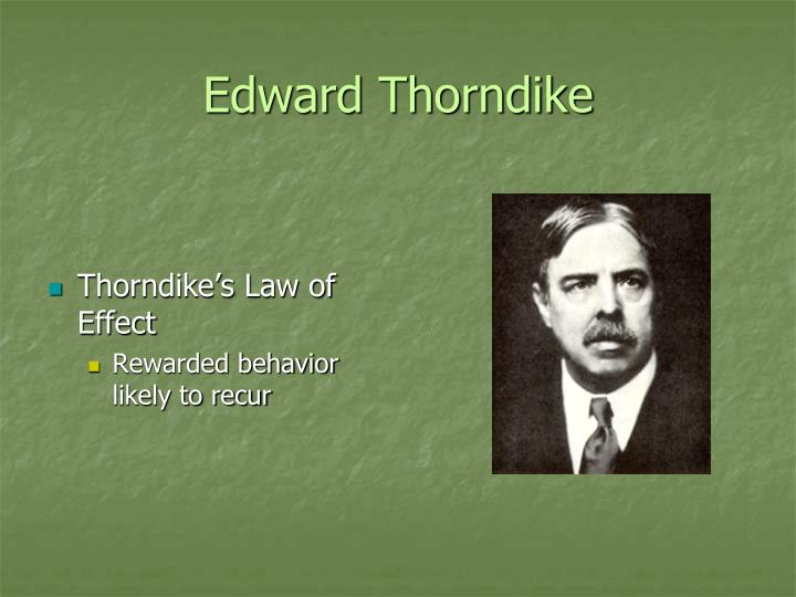 principles of classical conditioning identified by thorndike Applied history of psychology/learning theories from wikibooks, open books for an open world  applied history of psychology jump to navigation jump to search in the 19th century the behaviorist school of thought had some components in common with the more popular psychoanalytic and gestalt theories of psychology there were far.