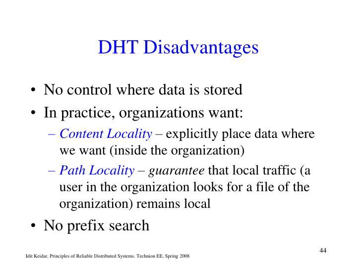 DHT Disadvantages