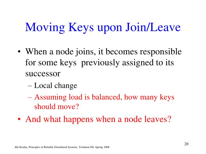 Moving Keys upon Join/Leave