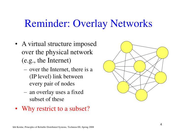 Reminder: Overlay Networks