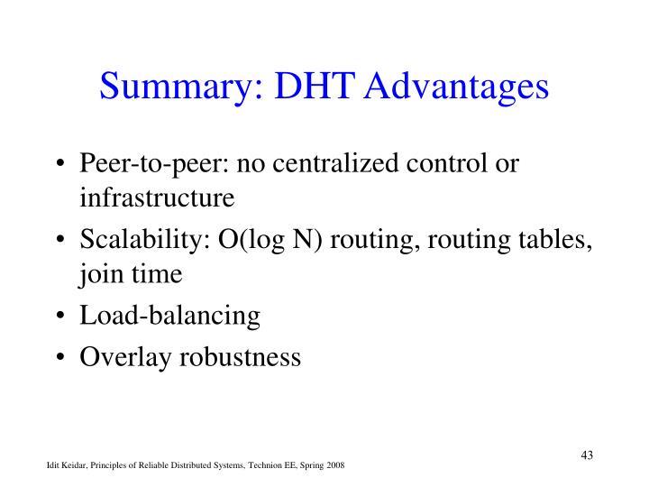 Summary: DHT Advantages