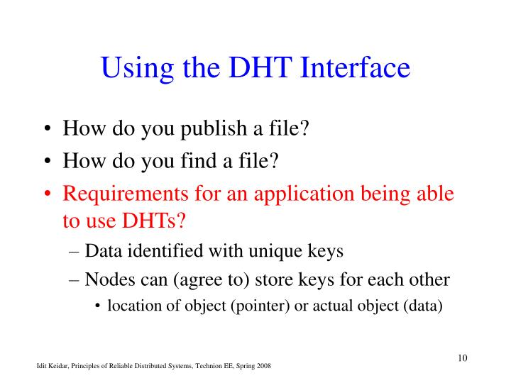 Using the DHT Interface