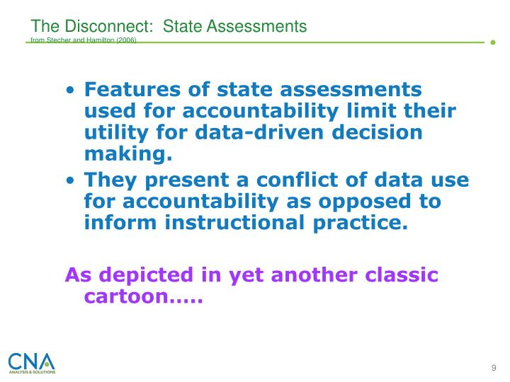 The Disconnect:  State Assessments