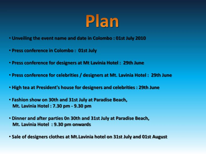 Unveiling the event name and date in Colombo : 01st July 2010