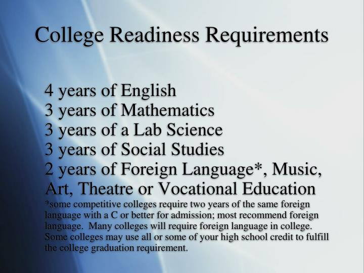 College Readiness Requirements
